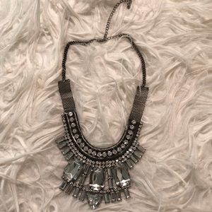 Silver crystal necklace and earrings set